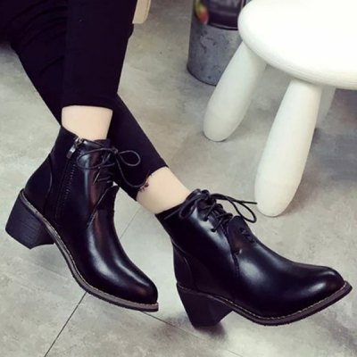 Tie Up Chunky Heel Ankle Boots
