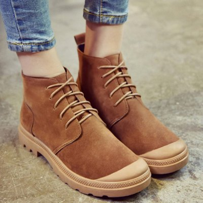 Tie Up Flat Heel Splicing Ankle Boots