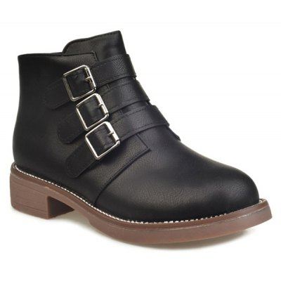 Buckles Zipper Ankle Boots
