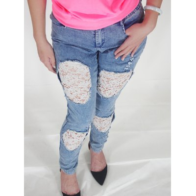 Lace Spliced Hollow Out Ripped Jeans
