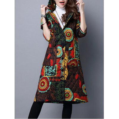 Hooded Printed Quilted Coat