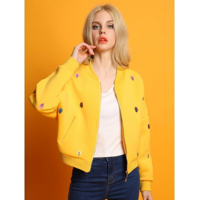 Zip Up Tree Embroidered Bomber Jacket