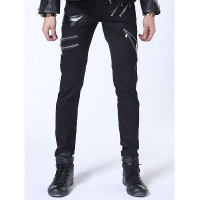 Zippered Faux Leather Insert Narrow Feet Pants