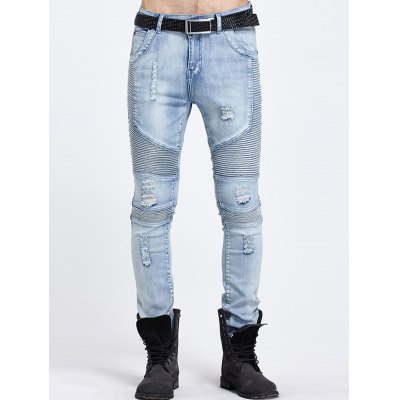 Zip Fly Distressed Biker Jeans