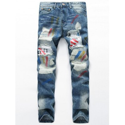Splatter Paint Distressed Patch Design Straight Leg Jeans