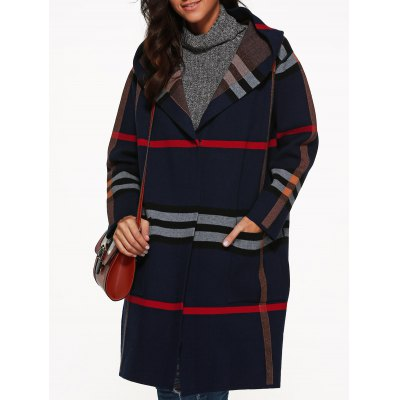 Hooded Plaid Coat with Pockets
