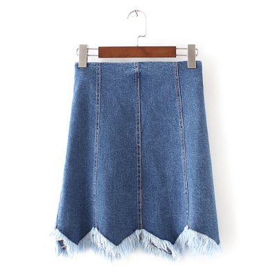 Wave Cut Frayed Denim Skirt