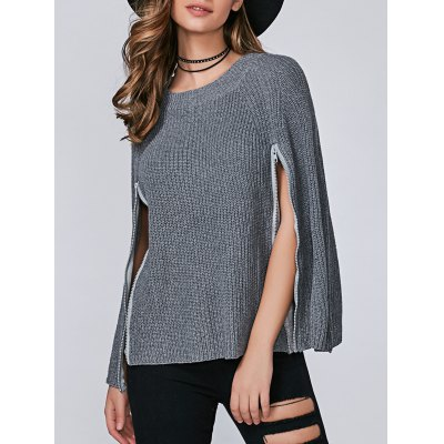 Zip Ribbed Pullover Cape Sweater