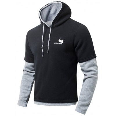 Color Block Drawstring Long Sleeve Fleeces Hoodie