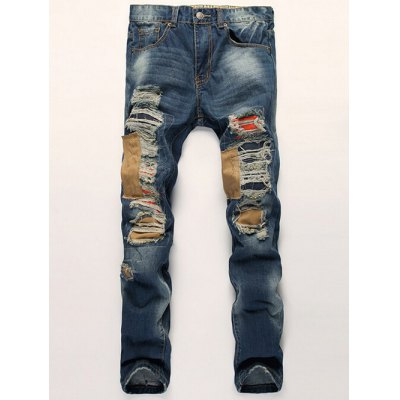 Distressed Zipper Fly Patch Design Straight Leg Jeans