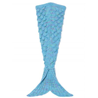 Endearing Multicolored Knitted Mermaid Blanket
