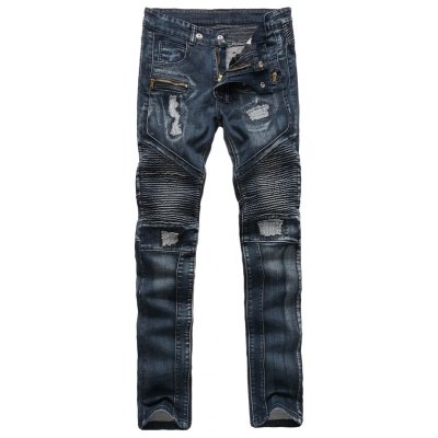Ribbed Insert Straight Leg Zippered Ripped Jeans