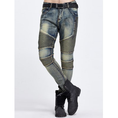 Ribbed Panel Zipper Fly Ripped Jeans