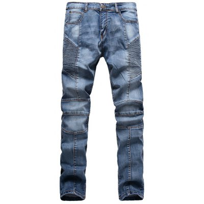 Ribbed Panel Scratched Zipper Fly Five-Pocket Jeans