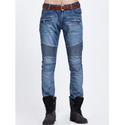 Scratched Rib Paneled Jeans