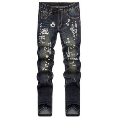 Hand Painted Print Zipper Fly Straight Leg Jeans