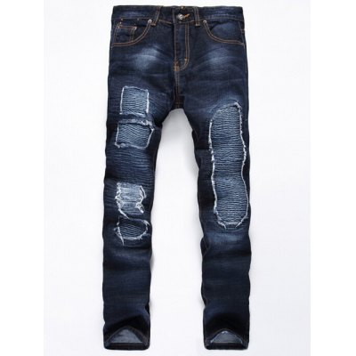 Distressed Rib Design Zipper Fly Straight Leg Jeans