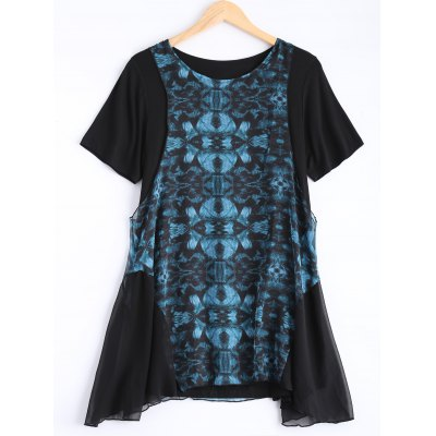 Asymmetric Retro Print Dress