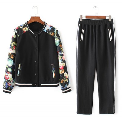Flower Print Spliced Bomber Jacket with Sporty Pants