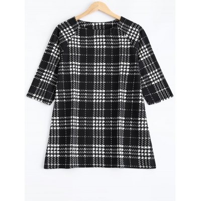 Plus Size Checkered Print Blouse