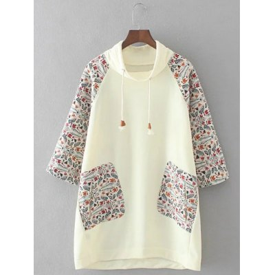 Retro Printed Patched Hoodie