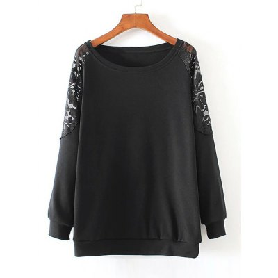 Lace Spliced Pullover Sweatshirt