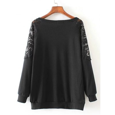 Lace Patchwork Pullover SweatshirtPlus Size Tops<br>Lace Patchwork Pullover Sweatshirt<br><br>Material: Cotton,Polyester<br>Clothing Length: Regular<br>Sleeve Length: Full<br>Collar: Jewel Neck<br>Style: Fashion<br>Season: Fall,Spring<br>Embellishment: Lace<br>Pattern Type: Patchwork<br>Weight: 0.420kg<br>Package Contents: 1 x Sweatshirt