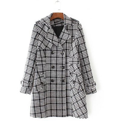 Plus Size Plaid Double Breasted Long Wool Coat