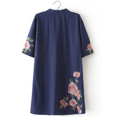 Plus Size Floral Embroidered Short Linen DressPlus Size Dresses<br>Plus Size Floral Embroidered Short Linen Dress<br><br>Style: Casual<br>Material: Cotton Blend,Polyester<br>Silhouette: Straight<br>Dresses Length: Mini<br>Neckline: V-Neck<br>Sleeve Length: Long Sleeves<br>Embellishment: Button<br>Pattern Type: Floral<br>With Belt: No<br>Season: Spring,Summer<br>Weight: 0.370kg<br>Package Contents: 1 x Dress