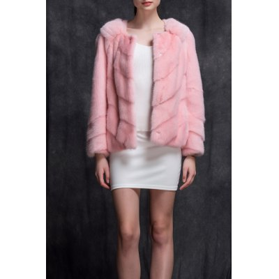 Mink Fur Collarless Coat