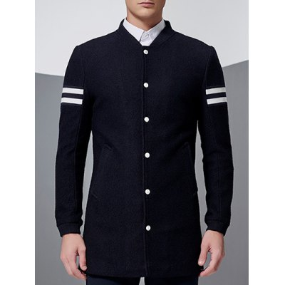 Stand Collar Button Up Striped Sleeve Coat