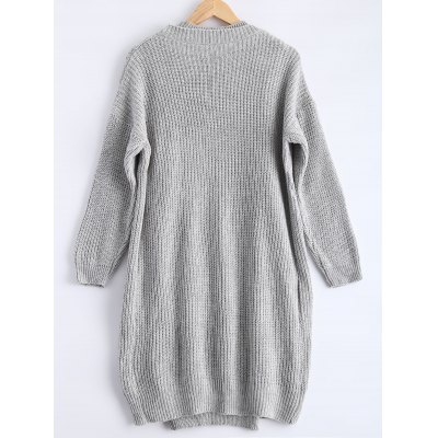 Ribbed knitted dress loose-fitting cardigan twinset