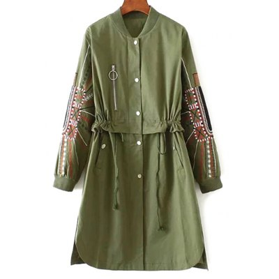 Stand Neck Embroidered Sleeve Trench Coat