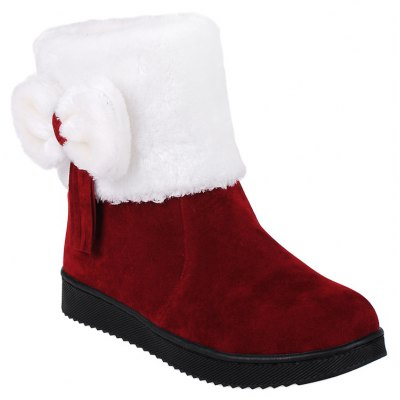 Fringe Bow Suede Snow Boots