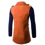 cheap Double-Breasted Turn-Down Collar Color Block Splicing Woolen Coat
