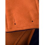 Double-Breasted Turn-Down Collar Color Block Splicing Woolen Coat deal