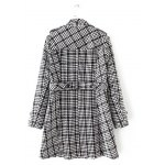 cheap Plus Size Plaid Double Breasted Long Wool Coat