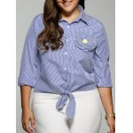 Plus Size Stereo Flower Striped Shirt