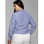 best Plus Size Stereo Flower Striped Shirt