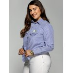 Plus Size Stereo Flower Striped Shirt deal
