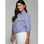 Plus Size Stereo Flower Striped Shirt for sale