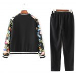 cheap Flower Print Patchwork Bomber Jacket with Sporty Pants