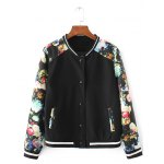 Flower Print Patchwork Bomber Jacket with Sporty Pants deal