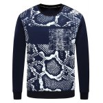 Crew Neck Snakeskin Print Spliced Sweatshirt
