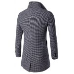 cheap Single-Breasted Houndstooth Pattern Woolen Coat