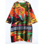 cheap 3/4 Sleeves Patterned Linen Tunic Dress