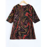 cheap Plus Size Galaxy Print 3/4 Sleeve T Shirt