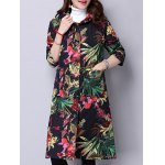cheap Floral Print Hooded Quilted Coat