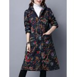 Hooded Floral Print Quilted Coat