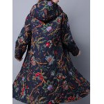 cheap Hooded Floral Print Quilted Coat